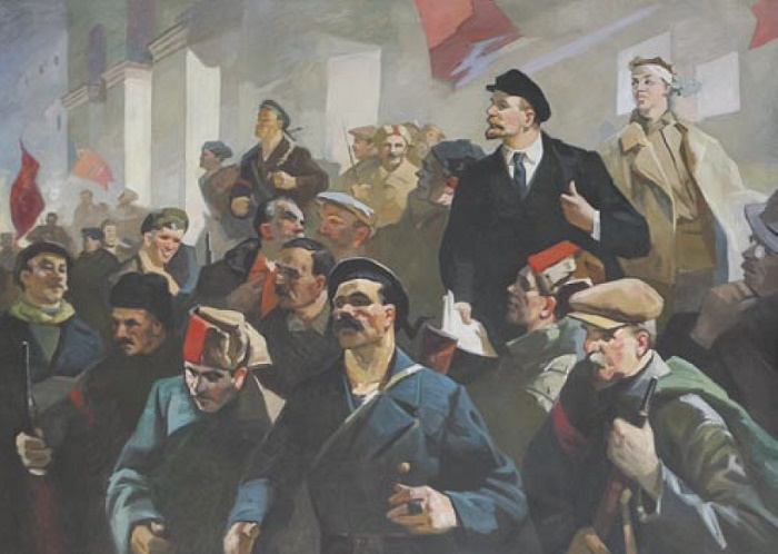 Pavel Antonovich Skorubsky (1924). Lenin with revolutionaries. 1980s