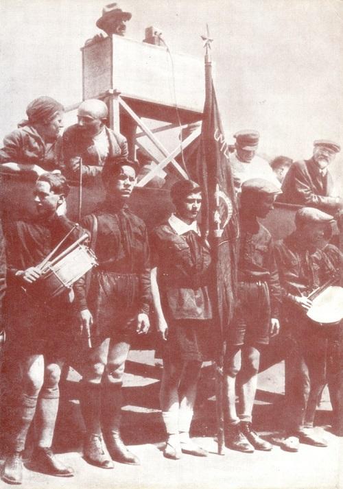 Pioneer Honor guard at Komsomol meeting. Moscow. 1929