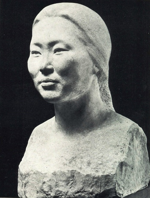 Portrait of a rural teacher RS Dyakonova. 1969, marble. Soviet Yakut sculptor Pyotr Zakharov