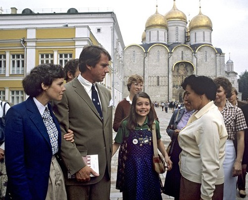Samantha and her parents sightseeing in Moscow, 1983, USSR
