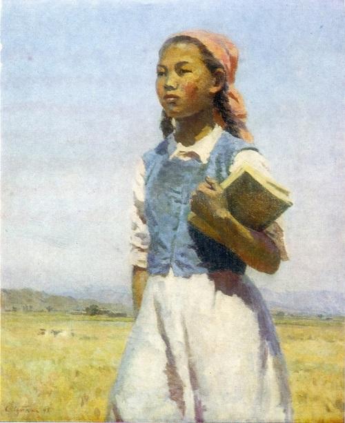 Soviet artist Semyon Afanasievich Chuikov (1902 — 1980). Daughter of Soviet Kirghizia. 1948. Oil