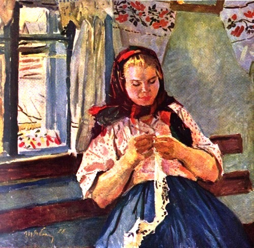 Soviet artist Tatyana Yablonskaya. Knitting