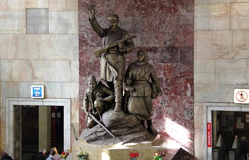 The sculptural group 'partisans' in the lobby of the metro station Partizanskaya, Moscow