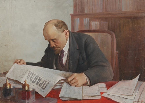 Vsevolod Medvedev (1912-1985). Lenin reading a newspaper 'Pravda'. Oil on canvas. 1965