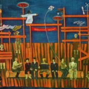 Yu. V. Scheblanov (born in 1950 Rostov-on-Don). Design for staging of Yu, Chernysheva 'Compatriots' (the stories of VM Shukshin). 1975. Oil on cardboard