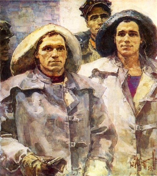 Glorification of labor in Soviet art. Yuri Mikhailovich Neprintsev (August 15, 1909 – October 20, 1996). Metro builders - drifters, 1959