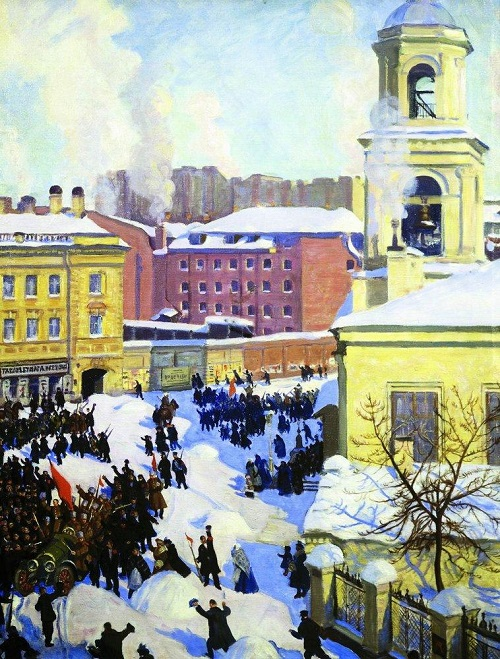 Great October Revolution in painting. Boris Kustodiev. February 27, 1917. Oil. 1917. The State Tretyakov Gallery