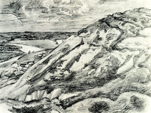 A. Bolashenko (Moscow). Mironov mountain. From the series' Voronezh land. In places of battles'. 1981. Pencil on paper