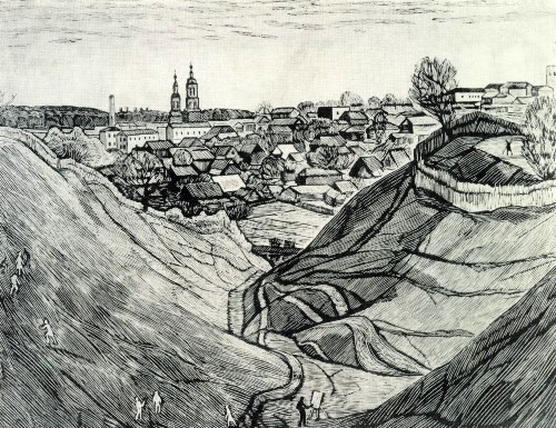 A. Borodin (Moscow). Kozelsk. Ravines. From 'Kaluga Earth' series. 1979. Linocut