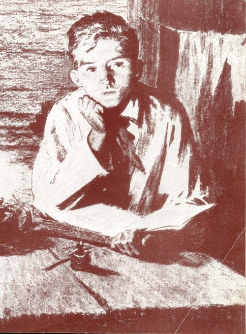 A. and S. Tkachev. Illustration to the poem by S. Shchipachev 'Pavlik Morozov'. Charcoal. 1952