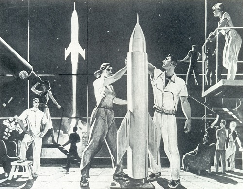 Soviet artist Alexander Deineka (May 8, 1899 - June 12, 1969). Conquerors of Space. 1961. Pencil, tempera