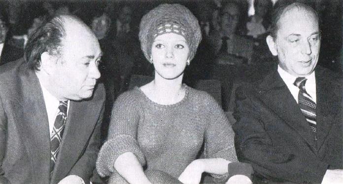 At the festival of Soviet cinema in London. Evgeny Leonov, Elena Proklova and L. Mosin. 1976