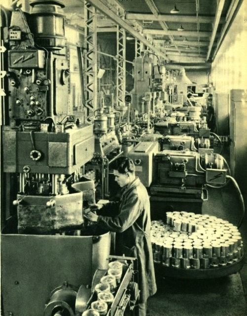 USSR Automotive Industry. Automatic line in the car factory, producing pistons for automobile engines. 'Soviet Union', 1953