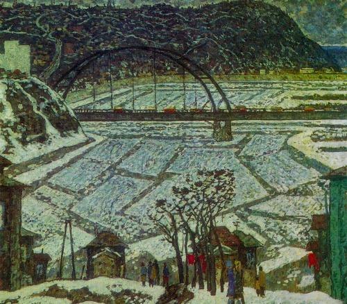 Soviet artist Boris Domashnikov (Ufa). Ice drift. 1981. Oil on canvas