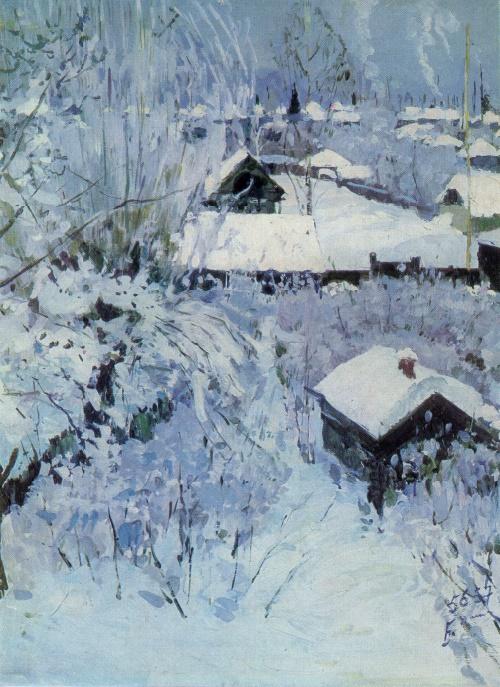 Boris Domashnikov. Born 1924. Hoar-Frost. Eventide. 1956-1957. Oil on canvas