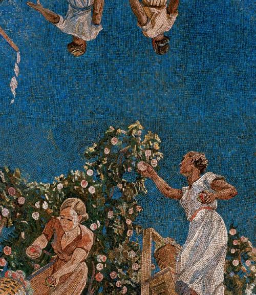 Collecting apples in Donbas. Mosaic on the Novokuznetskaya metro station. 1940. Detail