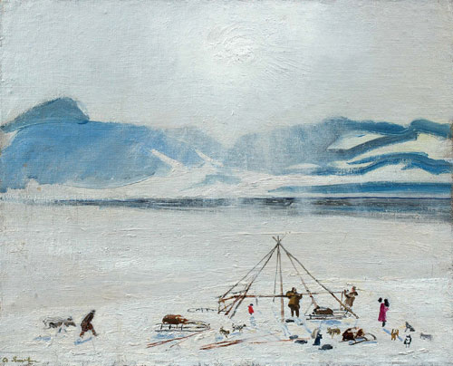 Constructing yaranga. Oil on canvas. 1963