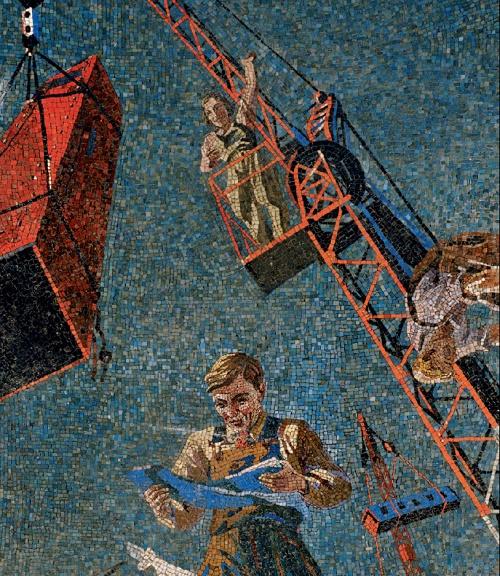 Construction site. Mosaic on the Novokuznetskaya metro station. 1940. Detail