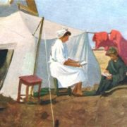 Tent of medical workers. The grain state farm Tselinny. Kazakhstan. Etude