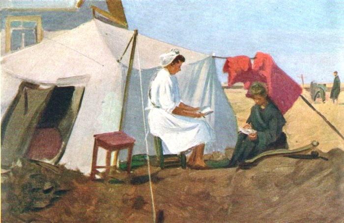 Tent of medical workers. The grain state farm Tselinny. Kazakhstan. Etude