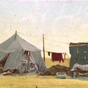 Tents. Zernosovkhoz Tselinniy, Kazakhstan. Etude