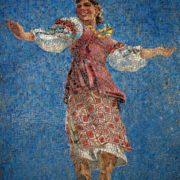 Dancing girl. Mosaic on the Paveletskaya metro station. 1941. Detail