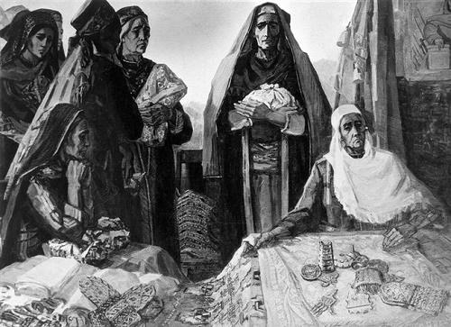 EM Adamova. Turkmen mothers to the motherland. 1967. Museum of Fine Arts of Turkmenistan, Ashgabat