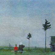Evening. Watercolor, tempera. 1937