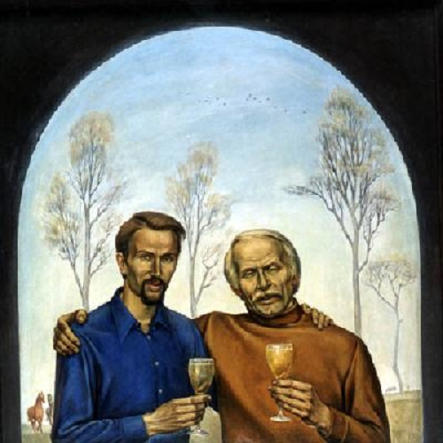 For friendship. (Self-portrait with the Polish artist Tadeusz Zholdak). 1977. Solid plate, tempera, varnish
