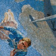 Free fall of the parachuter. Mosaic on the Mayakovskaya metro station. 1938. Detail