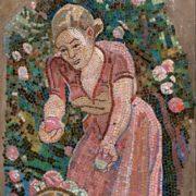 Girl with a basket. Mosaic on the Paveletskaya metro station. 1941. Detail