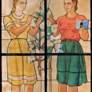 Girls at a blossoming tree. Sketch of stained glass window on the building of Moscow State University. 1953