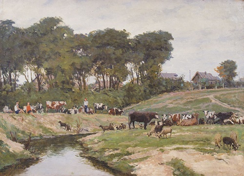 Landscape with a herd. 1947 Oil on canvas