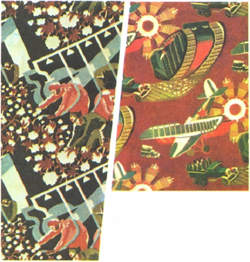 M. Nazarevskaya. Collection of cotton. Textile. Start of 1930s (left). L. Raytser. The mechanization of the Red Army. Textile. 1933