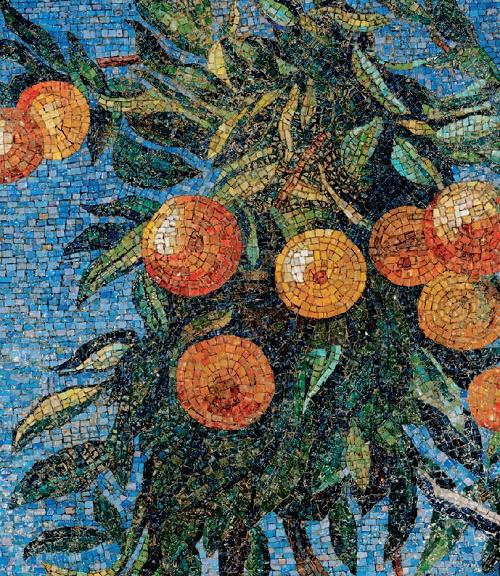 Oranges. Mosaic on the Mayakovskaya metro station. 1938. Detail