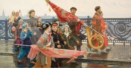 Return from the demonstration (They have seen Stalin), 1949. Painting by Soviet artist Dmitry Mochalsky (1908-1988)