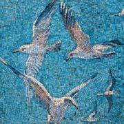Seagulls over the water. Mosaic on the Mayakovskaya metro station. 1938. Detail