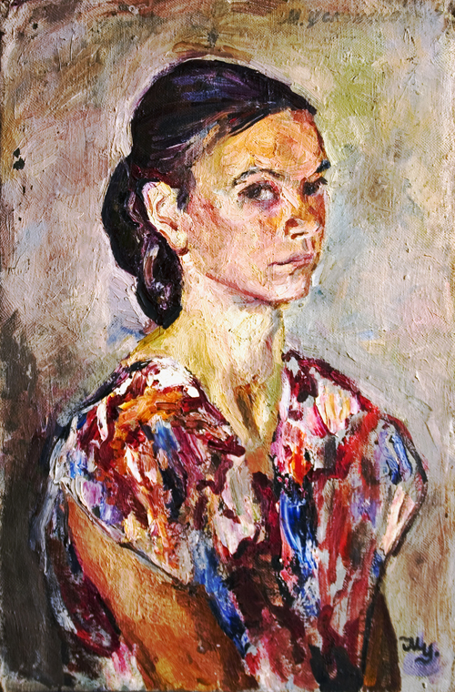 Soviet artist Marina Uspenskaya. Self-portrait in a bright dress. Oil on canvas. 1947