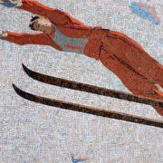 Skier. Mosaic on the Mayakovskaya metro station. 1938. Detail