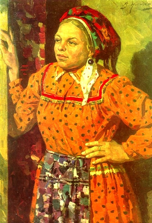 Soviet artist Vladimir Ilyukhin (October 21, 1923 - November 16, 2007). Moksha woman in an orange dress. 1981. Oil on canvas