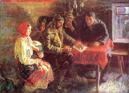 Soviet artists Tkachev Brothers. During the years of collectivization. Oil. 1980