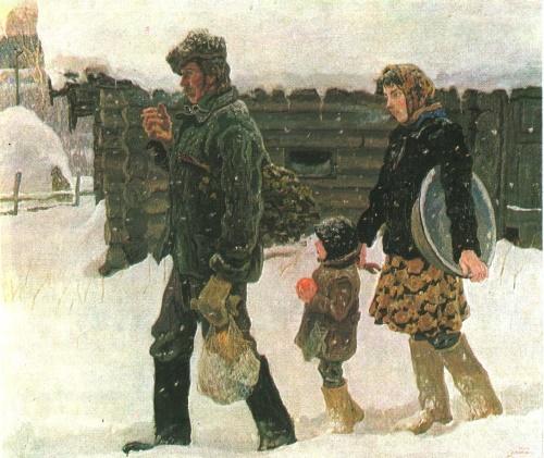 Soviet artists Tkachev Brothers. Young family. 1983-1984