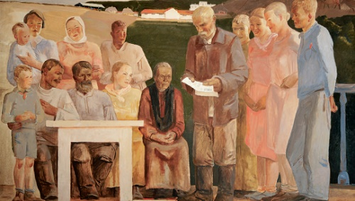 Talk of collective farm brigade. Sketch of mural for the new building of the People's Commissariat of Agriculture. Fragment. 1934