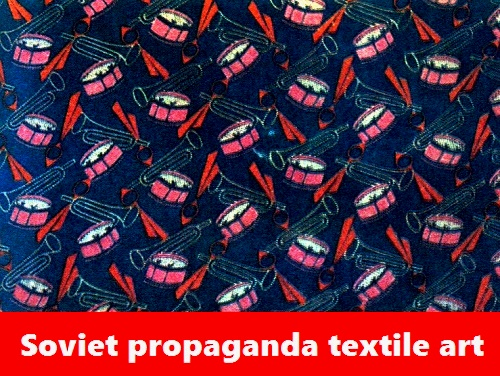 Soviet propaganda textile art. Unknown author. Pioneer textile. 1929