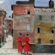 The Italian street. Monks in red. Watercolor, gouache. 1935