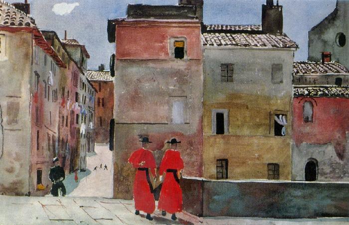 The Italian street. Monks in red. Watercolor, gouache. 1935