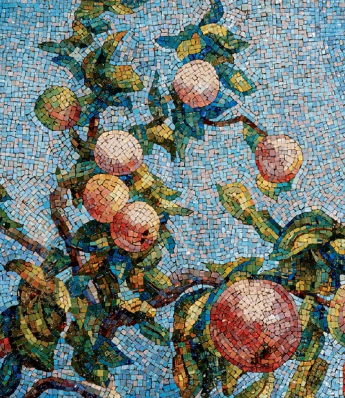 The apples are ripe. Mosaic on the Mayakovskaya metro station. 1938. Detail