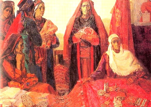 Turkmen mothers to the motherland. 1967. Museum of Fine Arts of Turkmenistan, Ashgabat
