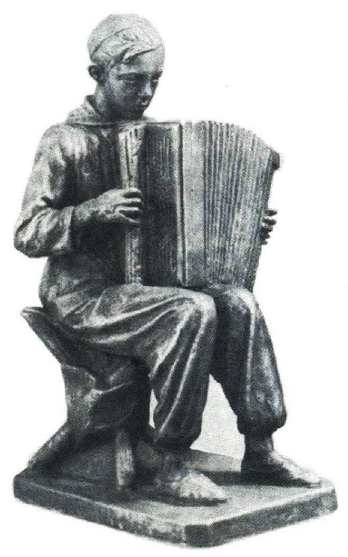 Soviet artist Vasily Pogorelov. War Song. Plaster 1958