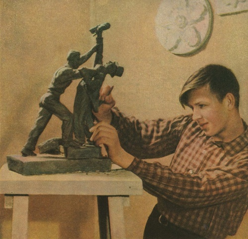 Young sculptor Valentin Yakovlev, Moscow, 1952